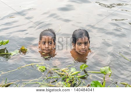 Children Taking Bath