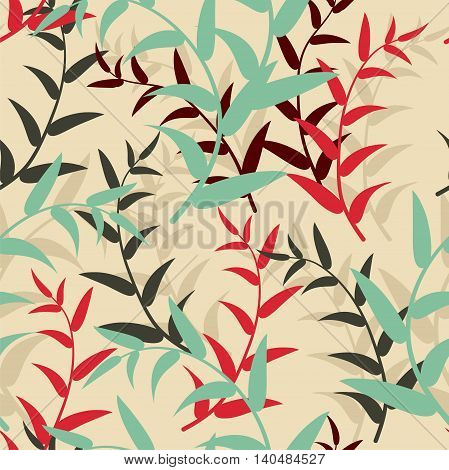 Vector  background, seamless pattern with colorful leaves