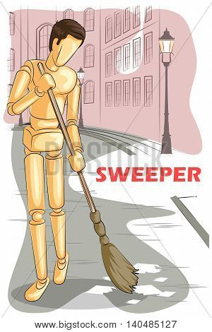 Wooden human mannequin Sweeper cleaning road. Vector illustration