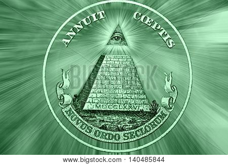 Dollar USA. Element of the image of United States one-dollar bill pyramid Eye of Providence Beams from Eye every which way. Conceptual photo for successful business design. Macro