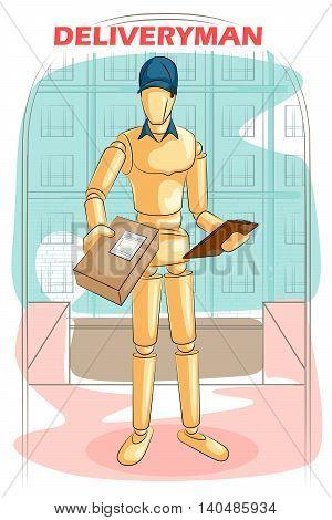 Wooden human mannequin Deliveryman delivering parcel box. Vector illustration