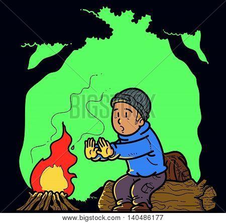 Illustration of a man in a bonfire