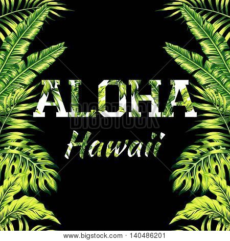 Mirrored trendy style illustration of tropic exotic plant palm banana leaves with a flower slogan Aloha Hawaii seamless vector pattern on a black background