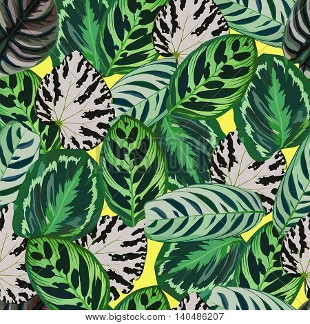 Exclusive trendy foliage set exotic begonia leaves pattern seamless background. Hand drawn vector tropical leaves illustration on a yellow background