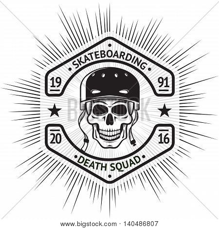 Skateboarding vintage label with skull in helmet, in shape of a screw-nut, with sign - Skateboarding Death Squad. vector