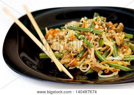 Pork green beans vegetables stir fry traditional asian cuisine selective focus