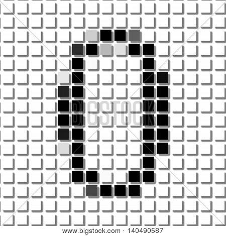 Zero. Simple Geometric Pattern Of Black Squares In Number Zero