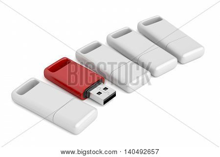 One open and different colored usb stick among others, 3D illustration