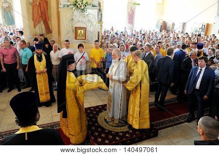 Orel Russia - July 28 2016: Russia baptism anniversary Divine Liturgy. Patriarch Kirill clothing for sermon in orthodox church