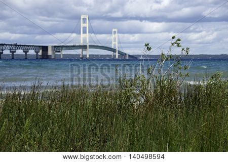 Mackinac Bridge in Michigan during the Summer.