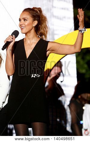 NEW YORK-SEPT 27: Actress Jessica Alba speaks onstage at the 2014 Global Citizen Festival to end extreme poverty by 2030 in Central Park on September 27, 2014 in New York City.