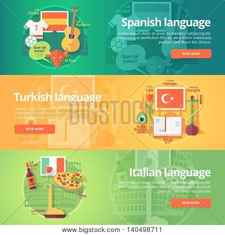 Foreign languages learning banner set. Design illustration for Spanish, Turkish and Italian language. Colorful vector flat concepts horizontal layout. poster