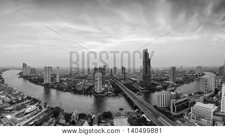 Black and White, Aerial view beautiful Bangkok river curved with dramatic sky background