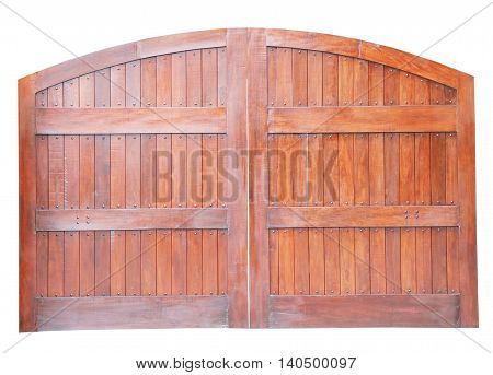Large wooden gate isolated on white background