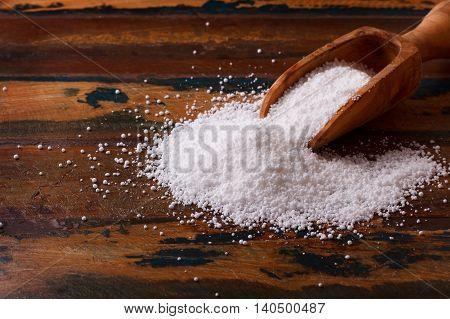 Casabe (bammy beiju bob biju) - flatbread of cassava (tapioca) on wooden background. Selective focus poster
