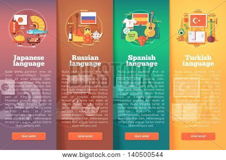 Vertical banners set of foreign language schools. Flat vector colorful illustration concepts of Japanese, Russian, Spanish. and Turkish languages. For brochure, booklet, print and web materials.