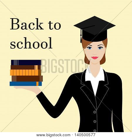 Back to school card with girl in black suit and cap with books