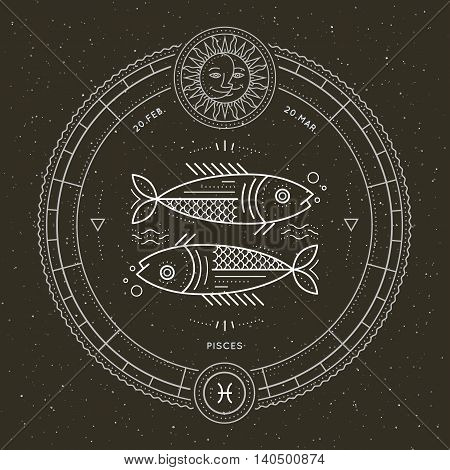 Vintage thin line Pisces zodiac sign label. Retro vector astrological symbol, mystic, sacred geometry element, emblem, logo. Stroke outline illustration.