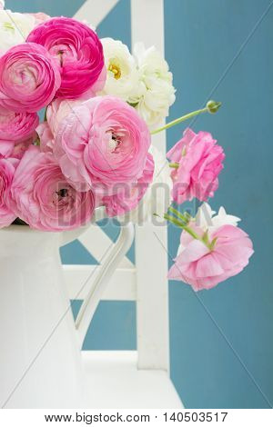 Pink and white fresh ranunculus flowers bouquet in vase close up