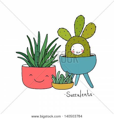 Cartoon cute succulents in pot. Hand drawing isolated objects on white background. Vector illustration. poster