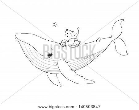 Big beautiful pink whale and three cute little gray kitten. Hand drawing isolated objects on white background. Vector illustration.