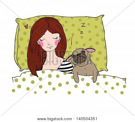 Sleeping beautiful young girl and a cute pug.Pillow and blanket. Pets. Hand drawing isolated objects on white background. Vector illustration.