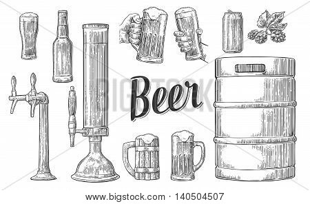 Beer set with two hands holding glasses mug and tap can keg bottle. Vintage vector engraving illustration for web poster invitation to party. Isolated on white background.