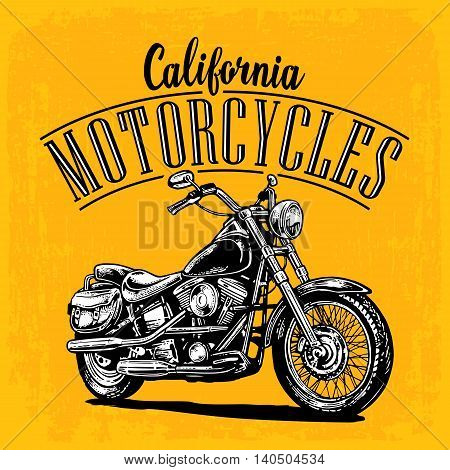 Motorcycle. Side view. Classic chopper bike in engraving style. Vector illustration. For web poster t-shirt tattoo biker club. Isolated on yellow vintage background