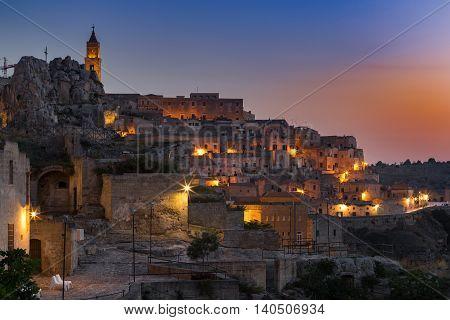 Old town of Matera at dusk, Basilicata region southern Italy