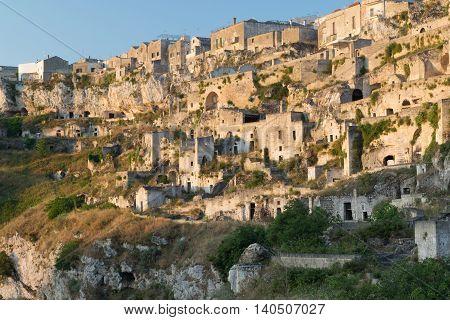 Ancient town of Matera at sunrise Basilicata region southern Italy