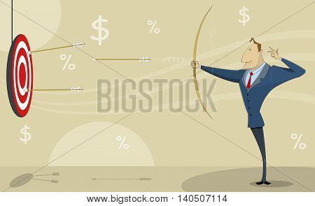 Comic cartoon businessman shooting at target with bow and arrows. Achieving the goals concept vector illustration.