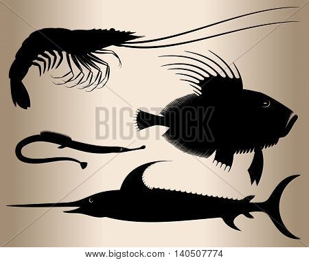 Marine fish and shrimp. Silhouettes of sea animals - fish sword, scorpion fish, pipefish and shrimp. Vector illustration.