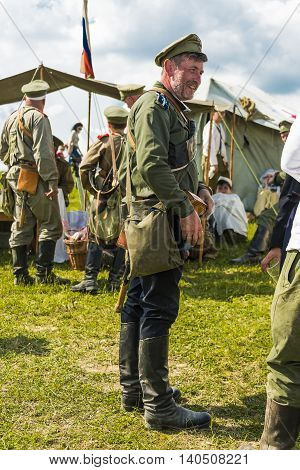 Snina Slovakia - May 28 2016: Military historical reconstruction battles of World War I Karpaty 1914/1916. Participant of event expects to begining reconstruction near Snina Slovakia.