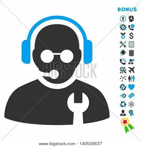 Service Operator icon with bonus pictograms. Vector style is bicolor flat iconic symbol with rounded angles, blue and gray colors, white background.