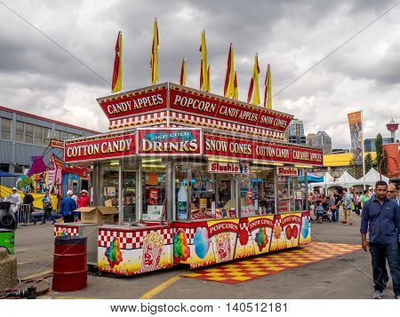 CALGARY, CANADA - JULY 9: Confection booth at the the Calgary Stampede midway on July 9, 2016 in Calgary, Alberta. The Calgary Stampede is often called the greatest outdoor show on Earth.