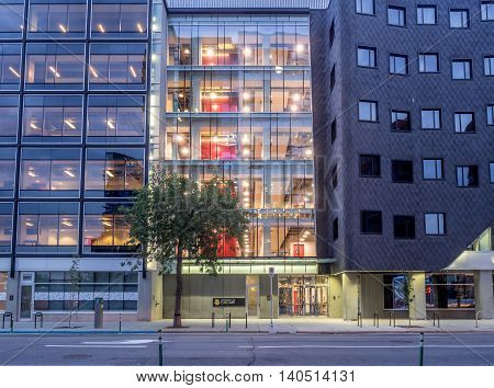CALGARY, CANADA - July 15: Downtown campus of the University of Calgary on July 15, 2016 in Calgary, Alberta. The new downtown campus is oriented to business extension learning for the city.