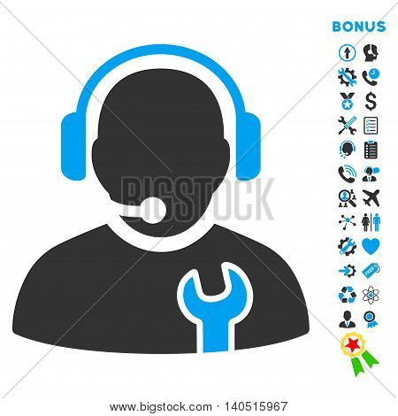 Service Operator icon with bonus pictograms. Glyph style is bicolor flat iconic symbol with rounded angles, blue and gray colors, white background.