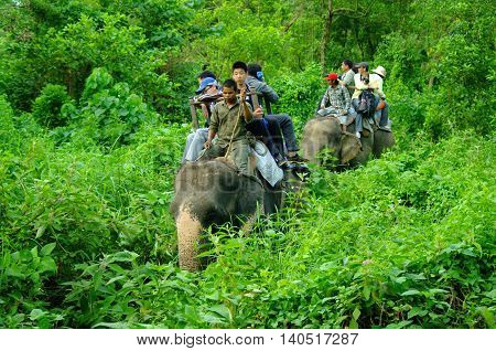 Chitwan,np-circa August 2012 - Tourists Doing Safari On Elephants Back, Circa August 2012 At Chitwan