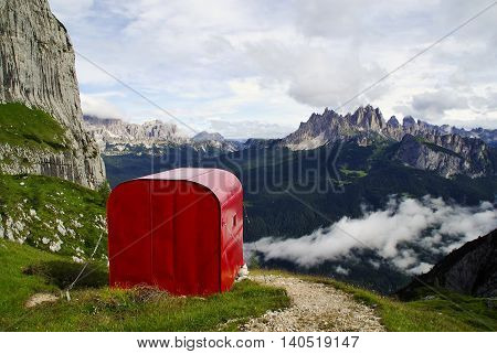 Red bivouac in the Dolomites Marmarole Group