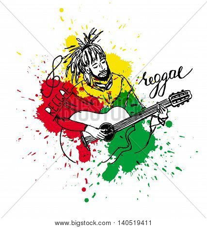 Vector Illustration Of Rastaman Playing Guitar. Cute Rastafarian Guy With Dreadlocks. Hand-drawn. Co