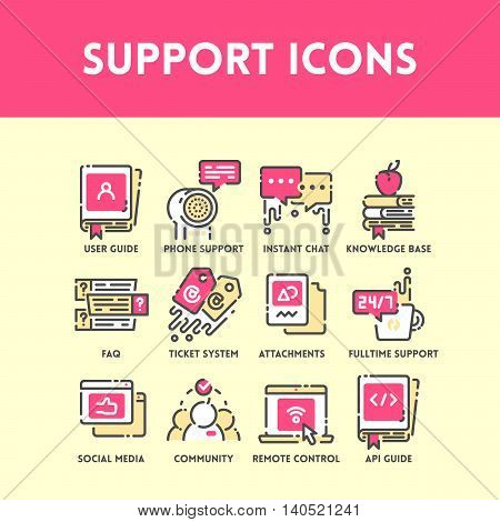 Technical support and service, social media and community help, phone support and ticket system. Flat outline color icon set. Vector Illustration.