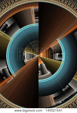 Abstract technology computer generated fractal cyan orange shades