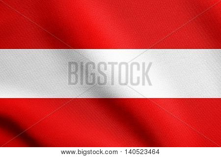 Flag of Austria waving in the wind with detailed fabric texture. Austrian flag.