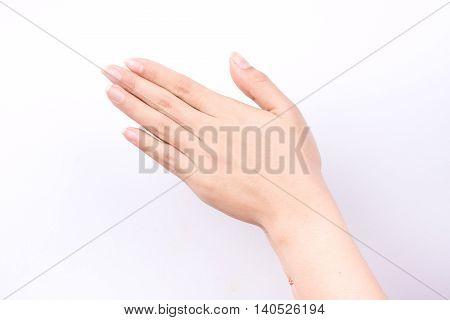 finger hand symbols isolated concept Wai is the traditional Thai greeting on white background