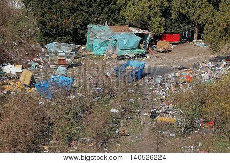 Illegal Settlement Camp of Ethnic Gypsies Romani