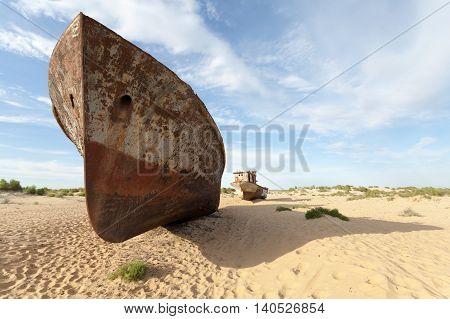 Abandoned ship in Aral Desert, Munyak Port, Uzbekistan.