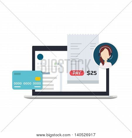 Vector Illustration of a Billing Software which Allows Users to Make Payments using Credit Card or Invoices, Get Technical Support
