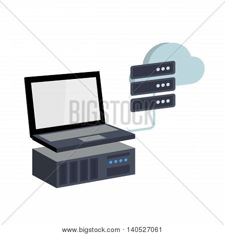 Isometric Vector Illustration of a Software Solution which Allows Users to Create Virtual Private Servers out of Dedicated Server