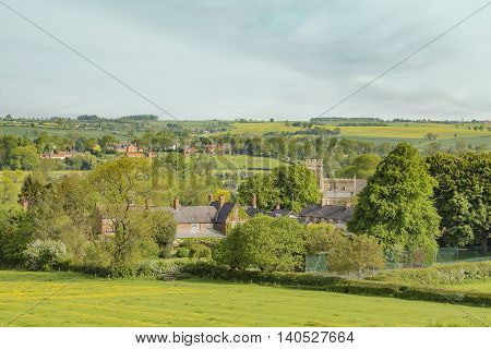 An image showing a section of the small peaceful village of Rotherby Leicestershire England UK.