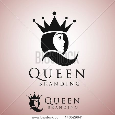 queen logo concept designed in a simple way so it can be use for multiple proposes like logo ,mark ,symbol or icon.